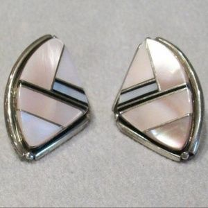 Pink Mussel Shell, Mother of Pearl Stud Earrings